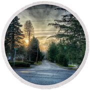Sunset On Hilltop Drive Round Beach Towel