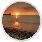 Sunset On Huron Lake Round Beach Towel