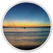 Round Beach Towel featuring the photograph Sunset On Ka'anapali Beach by Kelly Wade