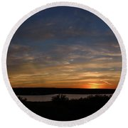 Sunset On Lake Georgetown Round Beach Towel