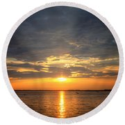 Sunset On Lake Hartwell Round Beach Towel by Lynne Jenkins
