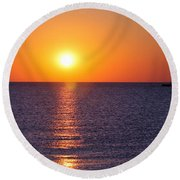 Sunset On Lake Michigan Round Beach Towel