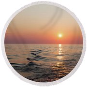 Sunset On Lake Michigan Round Beach Towel by Melanie Alexandra Price