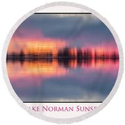 Round Beach Towel featuring the photograph Sunset On Lake Norman by Ronald Santini