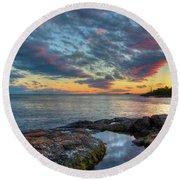 Sunset On Lake Superior Round Beach Towel