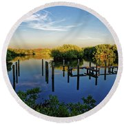 Round Beach Towel featuring the photograph Sunset On Long Bayou by Paul Mashburn