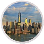 Sunset On Lower Manhattan Round Beach Towel