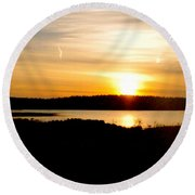 Sunset On Morrison Beach Round Beach Towel
