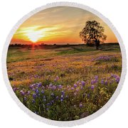 Sunset On North Table Mountain Round Beach Towel