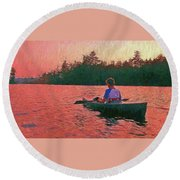 Sunset On Parker Pond Round Beach Towel by Joy Nichols