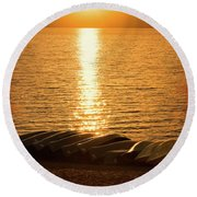 Sunset On Quinault Round Beach Towel