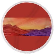 Sunset On Red And Purple Hills Round Beach Towel