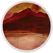 Sunset On Red Mountain Round Beach Towel