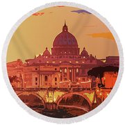 Sunset On Rome The Eternal City Round Beach Towel