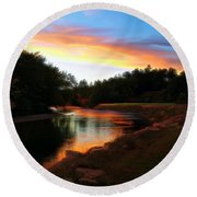Sunset On Saco River Round Beach Towel