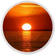 Round Beach Towel featuring the photograph Sunset On Superior by Paula Brown
