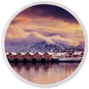 Sunset On Svolvaer Round Beach Towel