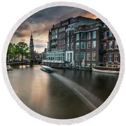Sunset On The Amstel River In Amsterdam Round Beach Towel