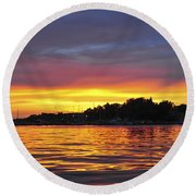 Sunset On The Bay Island Heights Nj Round Beach Towel