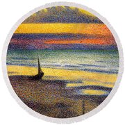 Sunset On The Beach 1891 Round Beach Towel