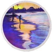 Sunset On The Beach Round Beach Towel