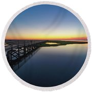 Sunset On The Boardwalk At Grays Beach Cape Cod Round Beach Towel