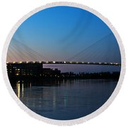 Sunset On The Bob Kerry Pedestrian Bridge Round Beach Towel