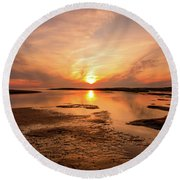 Sunset On The Cape Round Beach Towel