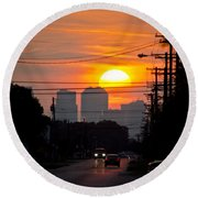 Sunset On The City Round Beach Towel by Carolyn Marshall