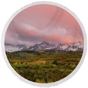 Sunset On The Dallas Divide Ridgway Colorado Round Beach Towel