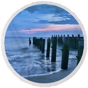 Sunset On The Delaware Bay Round Beach Towel
