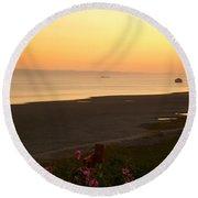 Sunset On The Devon Coast Round Beach Towel