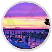 Sunset On The Docks Round Beach Towel