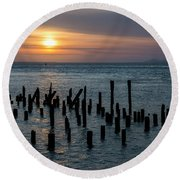 Sunset On The Empire Round Beach Towel