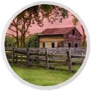 Round Beach Towel featuring the photograph Sunset On The Farm by Mary Timman