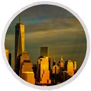 Sunset On The Financial District Round Beach Towel
