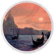 Sunset On The Grand Canal In Venice Round Beach Towel by Janet King