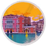 Sunset On The Grand Canal Venice Round Beach Towel