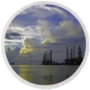 Sunset On The Harbor Round Beach Towel