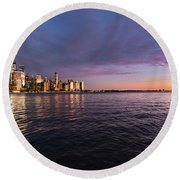 Sunset On The Hudson River Round Beach Towel