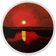 Round Beach Towel featuring the painting Sunset On The Lake by Donald J Ryker III