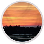 Sunset On The Marsh Round Beach Towel