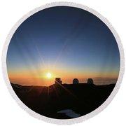 Sunset On The Mauna Kea Observatories Round Beach Towel