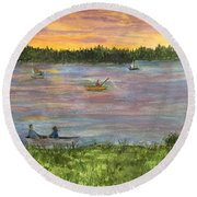 Sunset On The Merrimac River Round Beach Towel