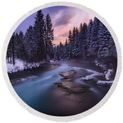 Round Beach Towel featuring the photograph Sunset On The Metolius by Cat Connor