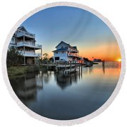 Sunset On The Obx Sound Round Beach Towel