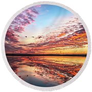 Sunset On The Pacific Flyway Round Beach Towel
