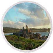 Sunset On The Pacific Ocean  Round Beach Towel