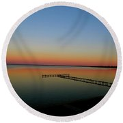 Sunset On The Pier Round Beach Towel