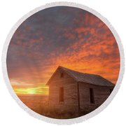 Round Beach Towel featuring the photograph Sunset On The Prairie  by Darren White